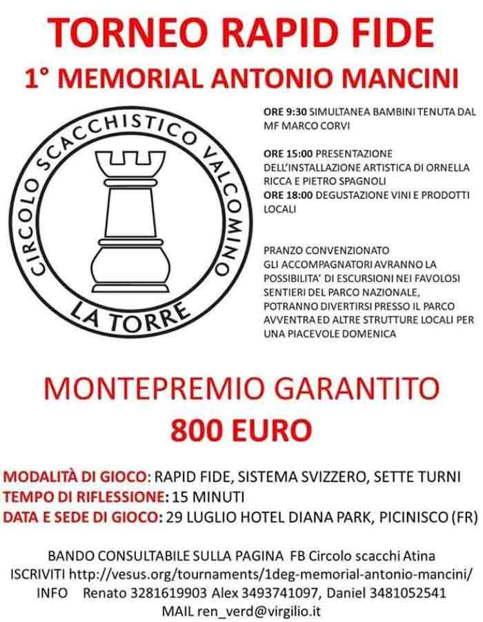 1 Memorial Antonio Mancini Locandina Scacchi