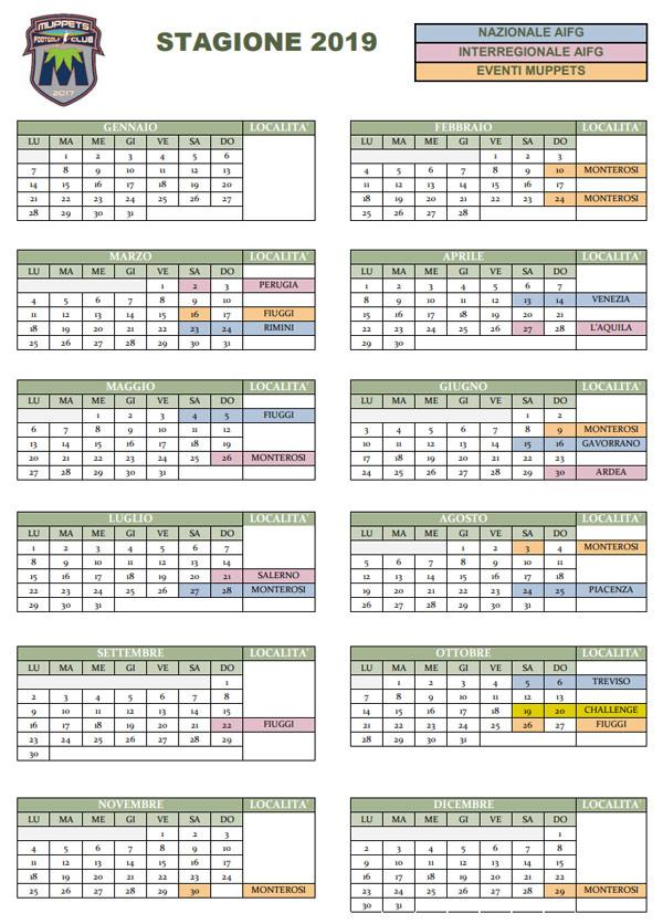 Calendario Eventi Muppets Stagione 2019