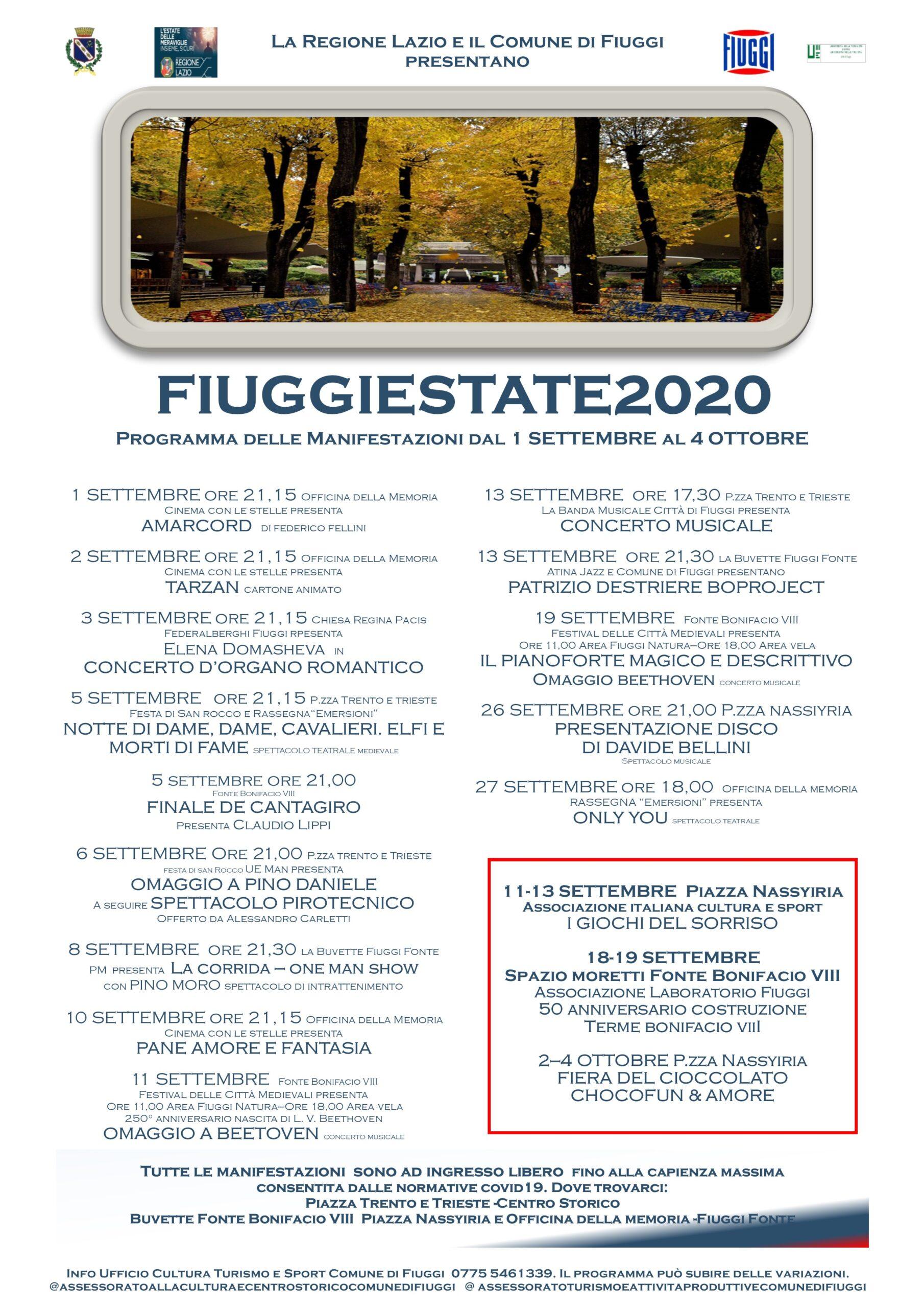 Eventi Fiuggi settembre 2020