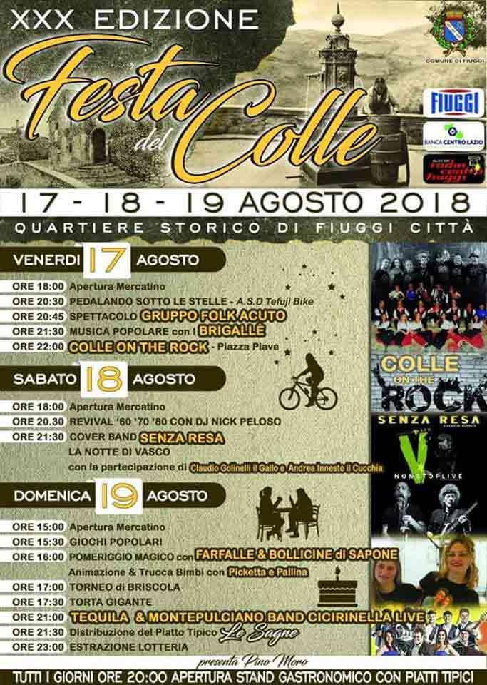 Festa del Colle Fiuggi 2018 Locandina