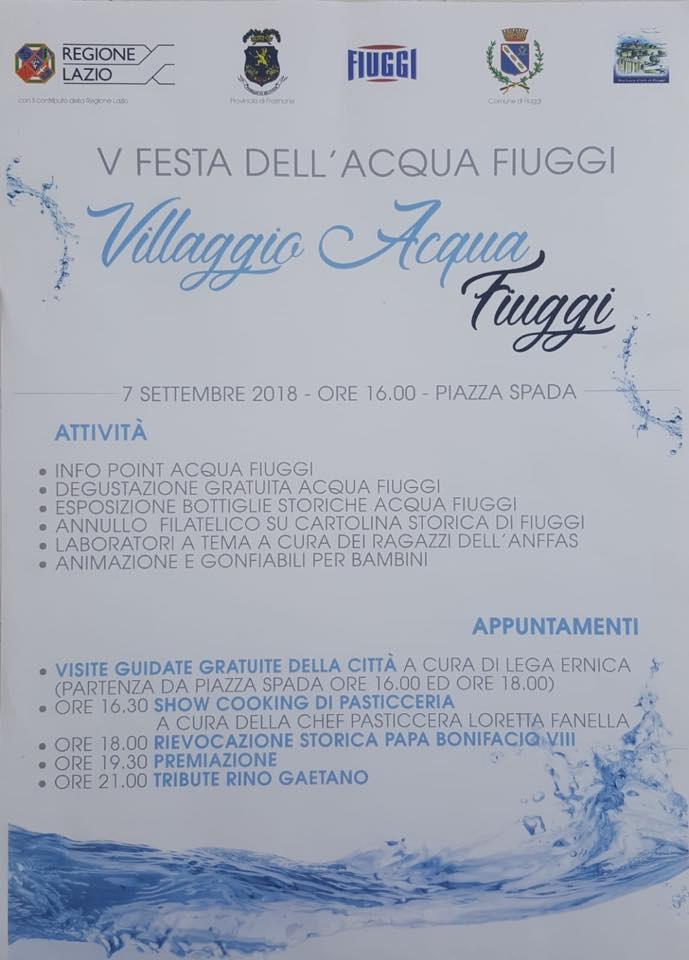 Festa dell'Acqua Fiuggi Locandina 2018