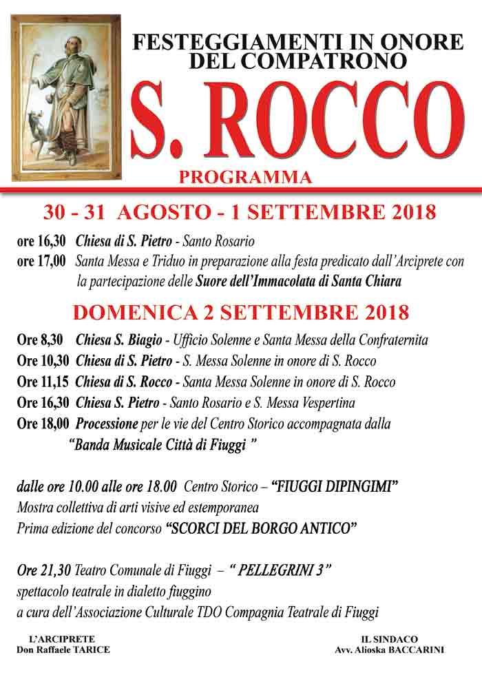 Festeggiamenti di San Rocco Locandina 2018 Fiuggi