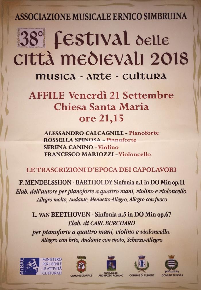 Festival delle Città Medievali Locandina 2018 Affile