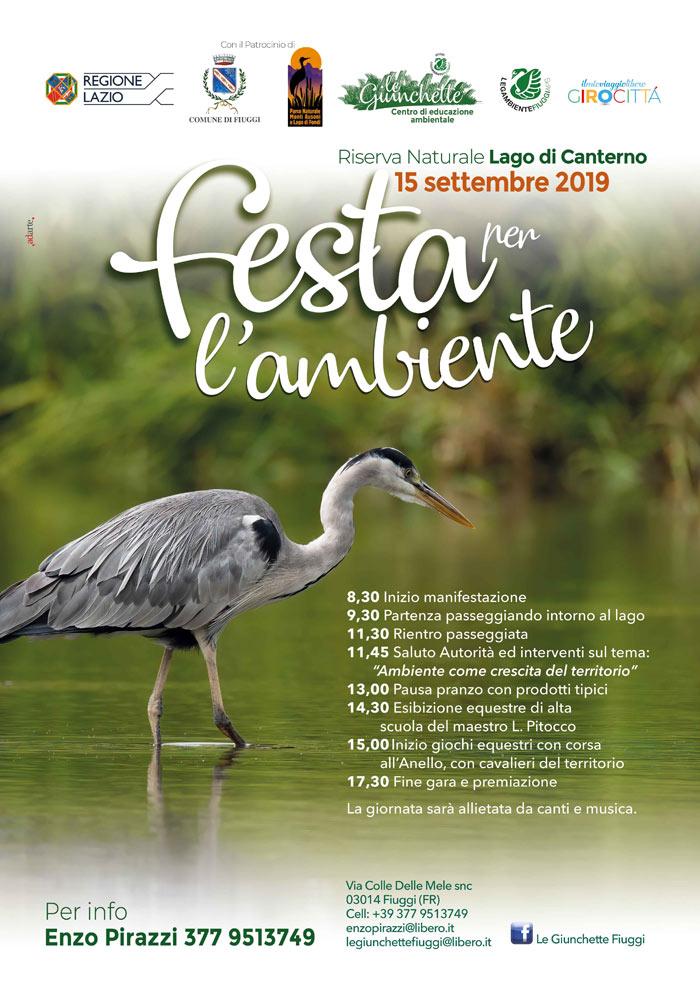 La locandina della festa dell'ambiente al lago di Canterno