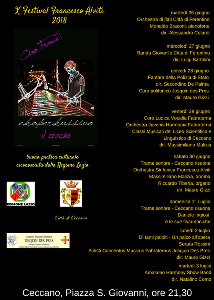 Manifesto Festival Francesco Alviti 2018