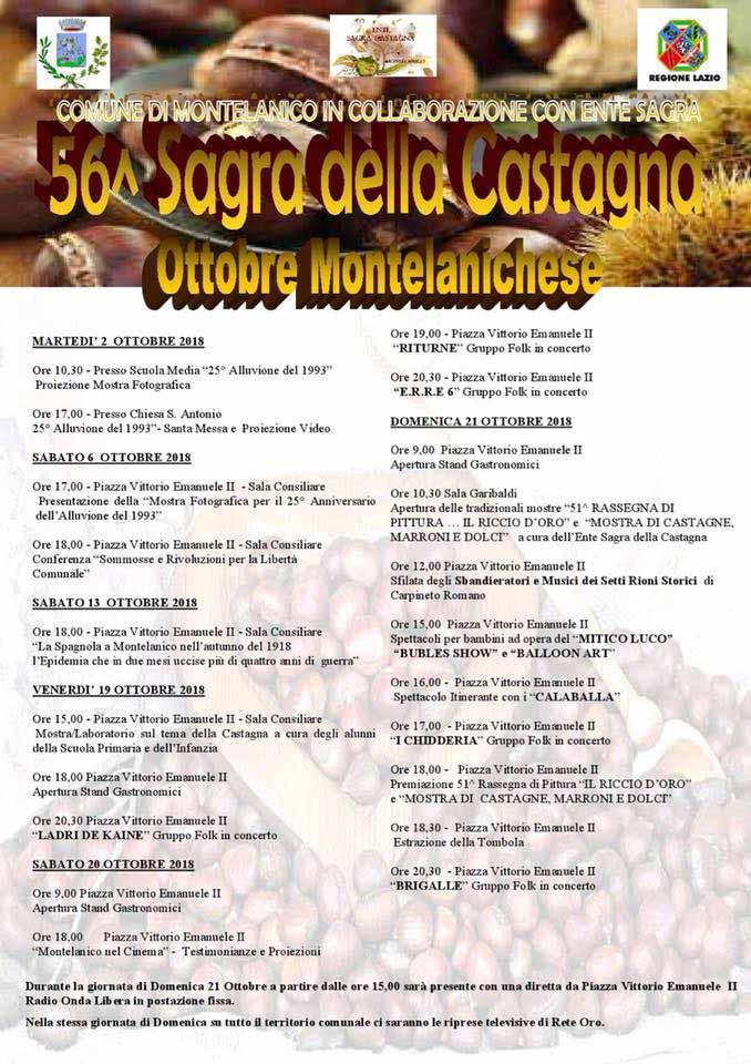 Ottobre Montelanichese Programma