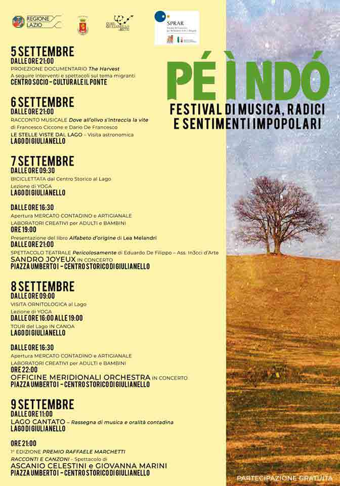 Pé ì Ndò Festival di Musica Radici e Sentimenti Impopolari Cori Giulianello Locandina 2018