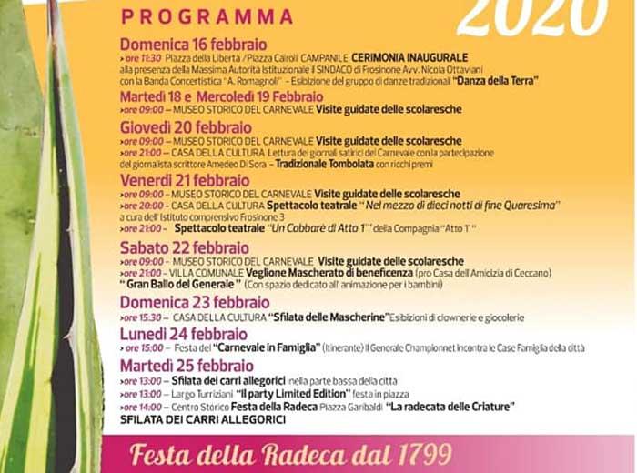 Il programma del Carnevale di Frosinone