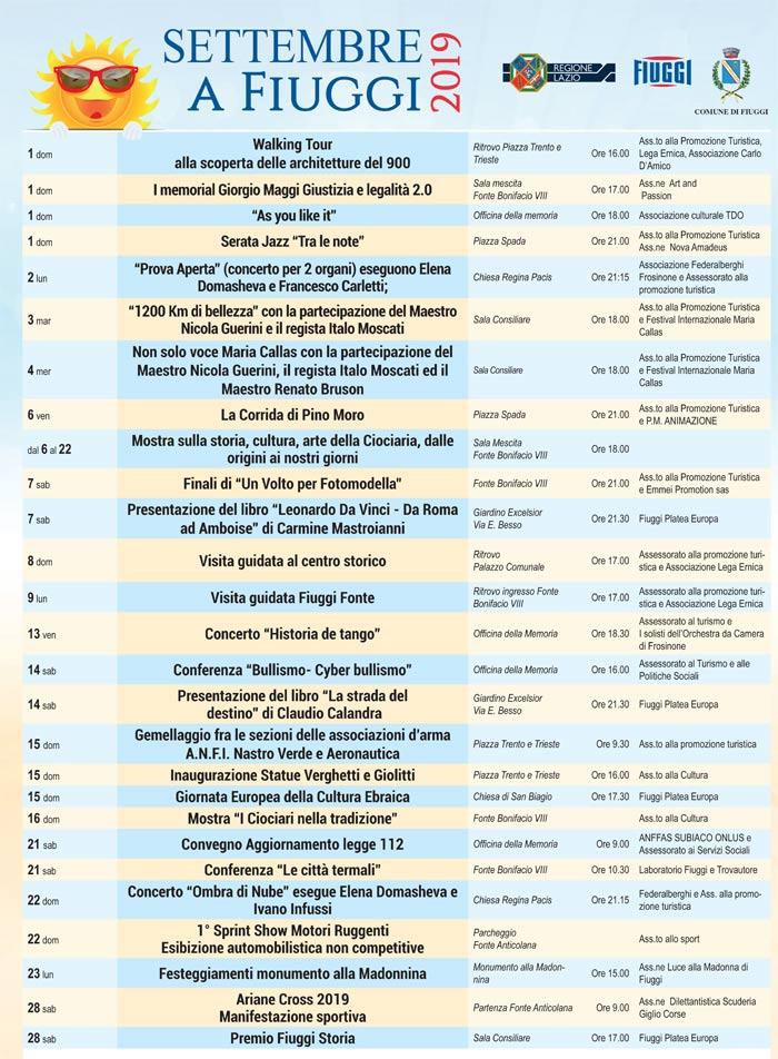 Il programma degli eventi di settembre a Fiuggi