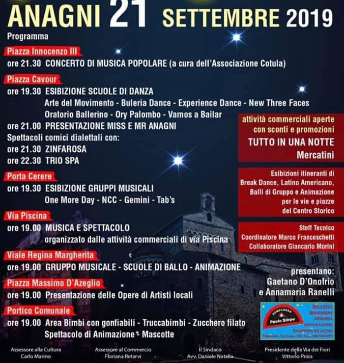 Il programma notte di stelle ad Anagni