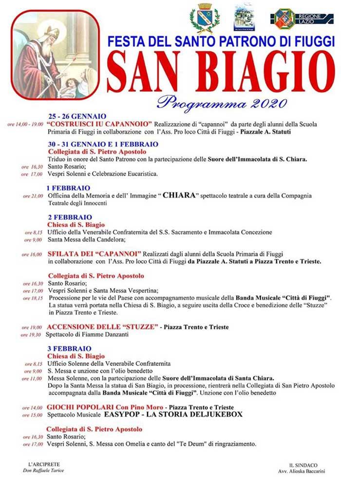 Il programma per San Biagio a Fiuggi
