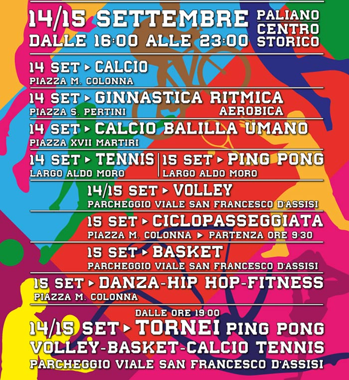 Il programma weekend dello sport a Paliano