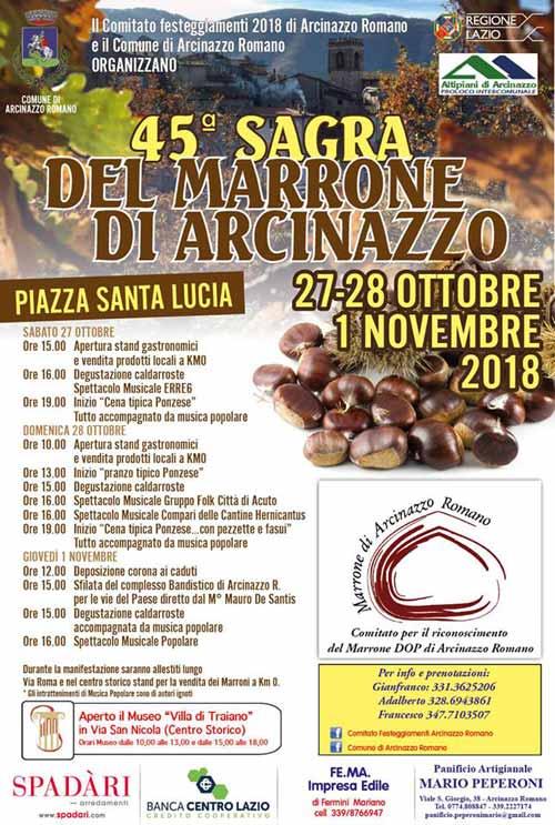 Sagra Castagna Arcinazzo Romano 2018