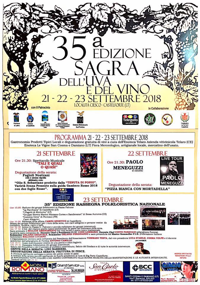 Sagra dell' Uva e del Vino Locandina Castelforte 2018