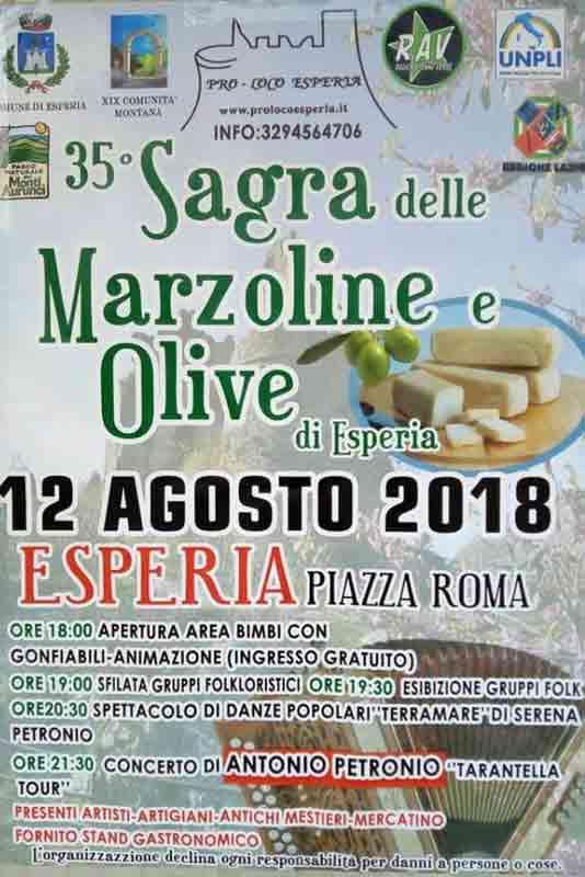 Sagra delle Marzoline e Olive Locandina 2018